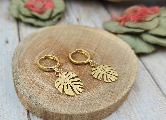 TINY Boucles gold-filled- Pendentif feuille monstera