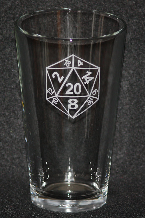 D20 Dice Symbol Pint Glass