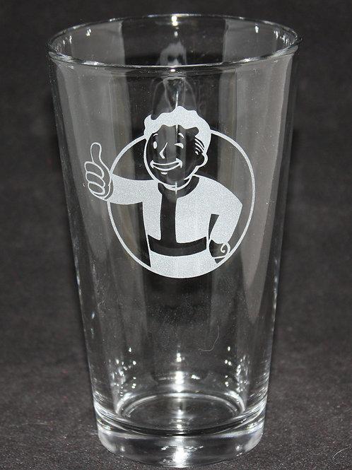 Fallout Vault Boy Symbol Etched Pint Glass