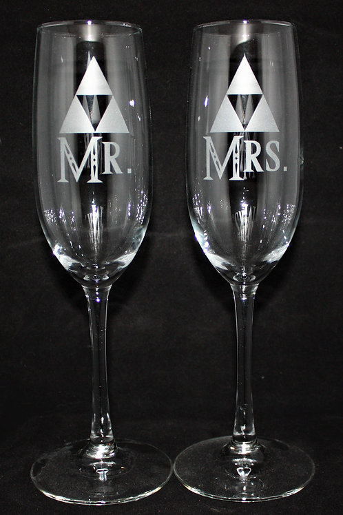 Adventurer Legend of Zelda Triforce Themed Wedding Champagne Flute Set