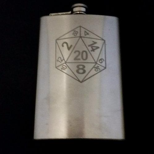 D20 Dice Symbol Metal Flask