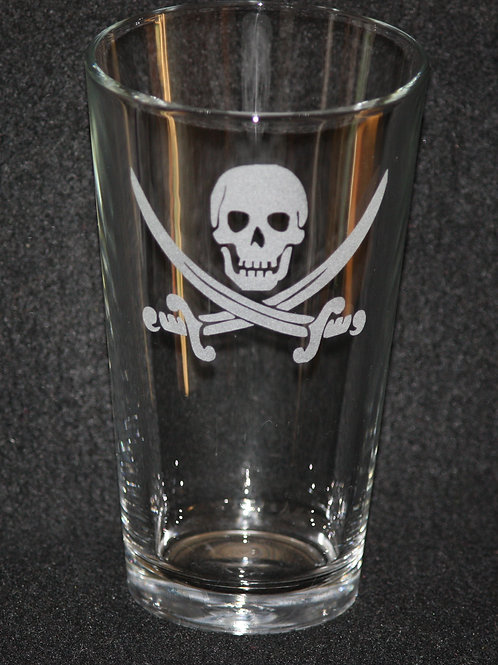 Jolly Roger Calico Jack Pirate Pint Glass