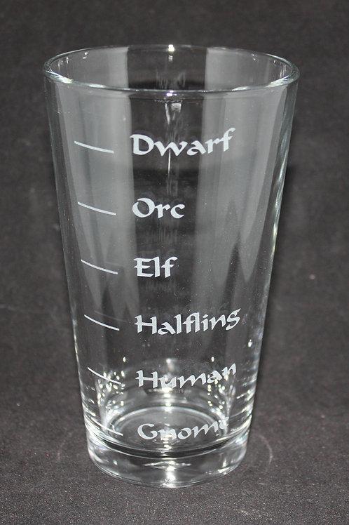 D & D Dungeons & Dragons Races Pint Glass