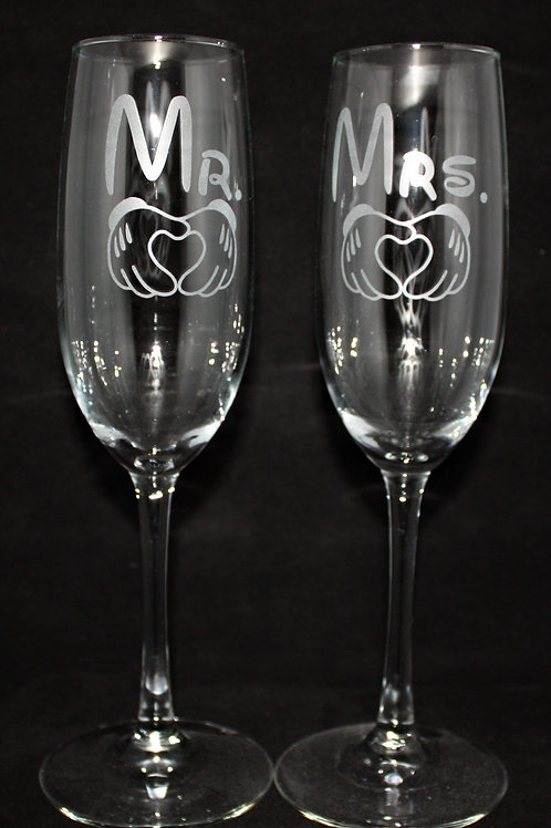 Hand Hearts Wedding Champagne Flute Set