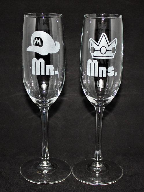 Mushroom Kingdom Themed Wedding Champagne Flute Set