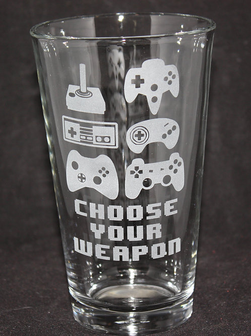 Choose Your Weapon Video Controller Pint Glass