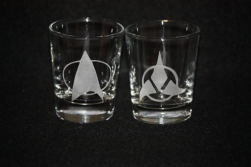 Star Trek Star Fleet & Klingon Shot Glass Set