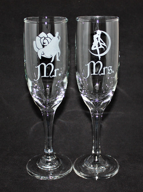 Magical Girl Themed Wedding Champagne Flute Set