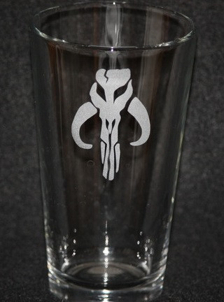 Star Wars Mandalorian Boba Fett Pint Glass Fanboy Glasscustom