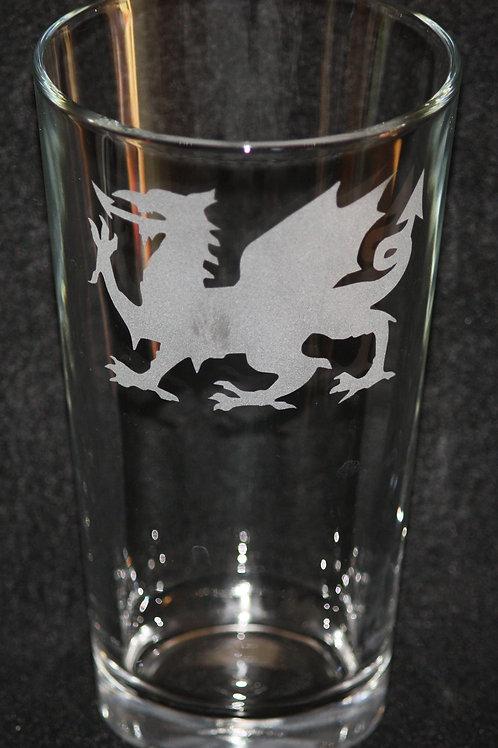 Welsh Dragon Pint Glass