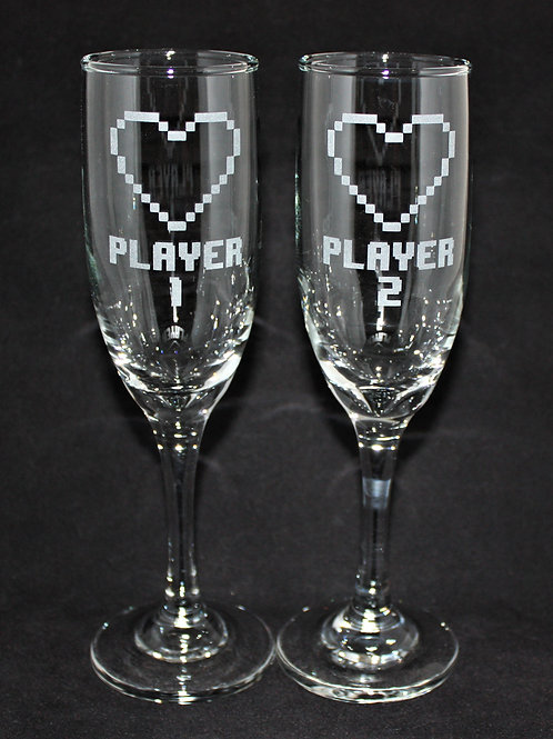 Video Game Ready Player Themed Wedding Champagne Flute Set