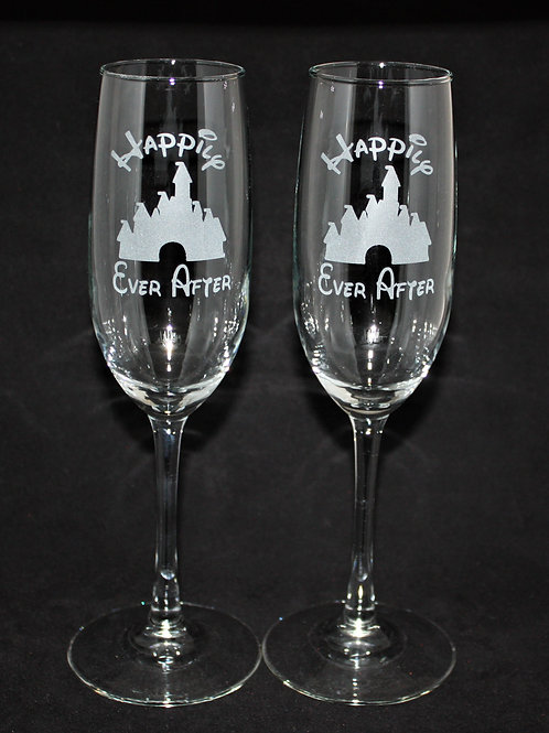 Enchanted Castle Themed Wedding Champagne Flute Set