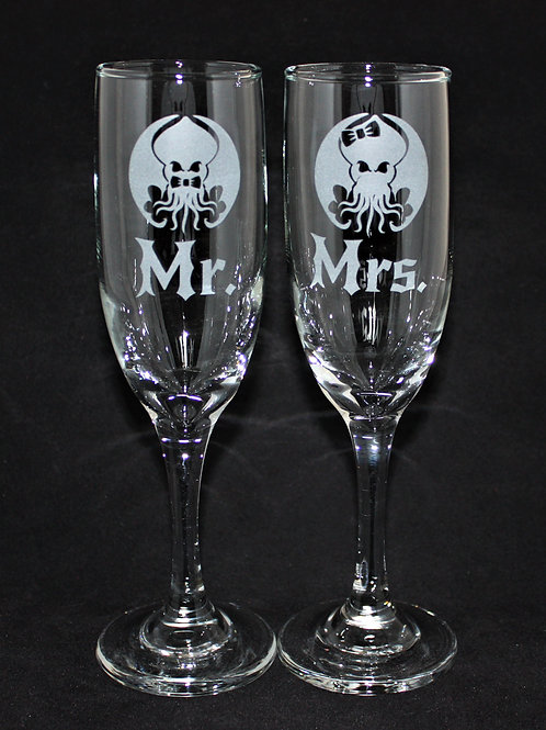 Cthulhu Lovecraft Themed Wedding Champagne Flute Set