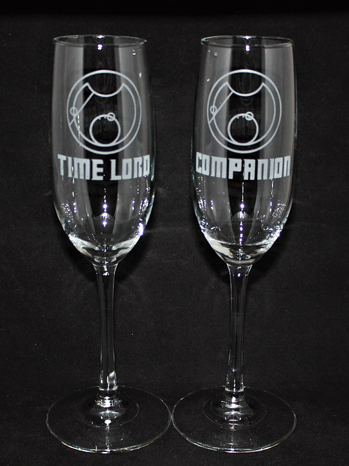 Blue Box Doctor Who Themed Wedding Champagne Flute Set