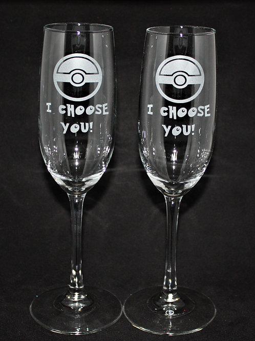 Gym Trainer Pokemon Themed Wedding Champagne Flute Set