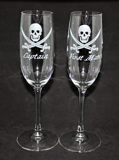 Pirate Nautical Themed Wedding Champagne Flute Set