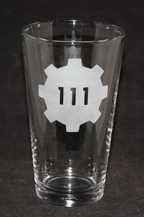 Fallout Vault 111 Symbol Etched Pint Glass