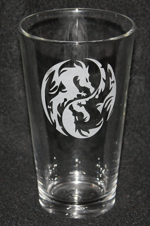 Double Dragon Pint Glass