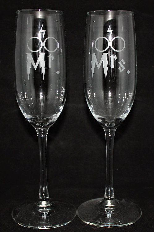 Magic Boy Themed Wedding Champagne Flute Set