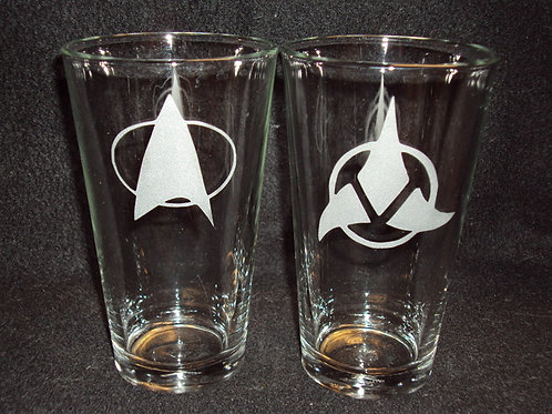 Star Trek Star Fleet & Klingon Pint Glass Set