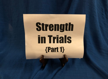 Blog #29- Strength in Trials (Part I)