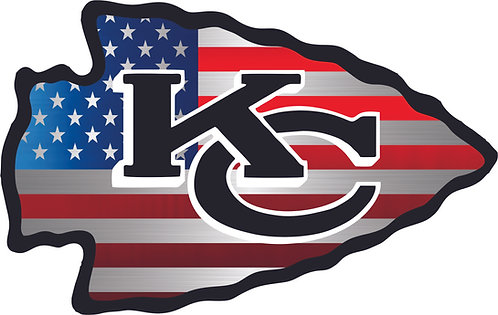 KC Cheifs with Chrome Flag Background