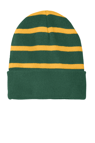 Sport-Tek® Striped Beanie with Solid Band with Embroidered Logo STC31