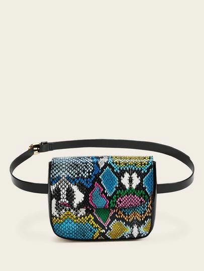 Multicolored Snakeskin Fanny Pack