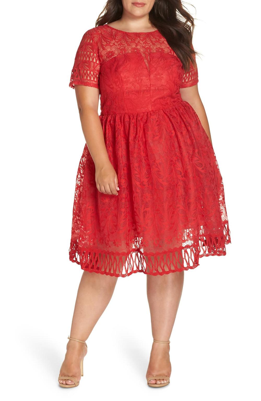 Chi Chi London Red Crochet Dress