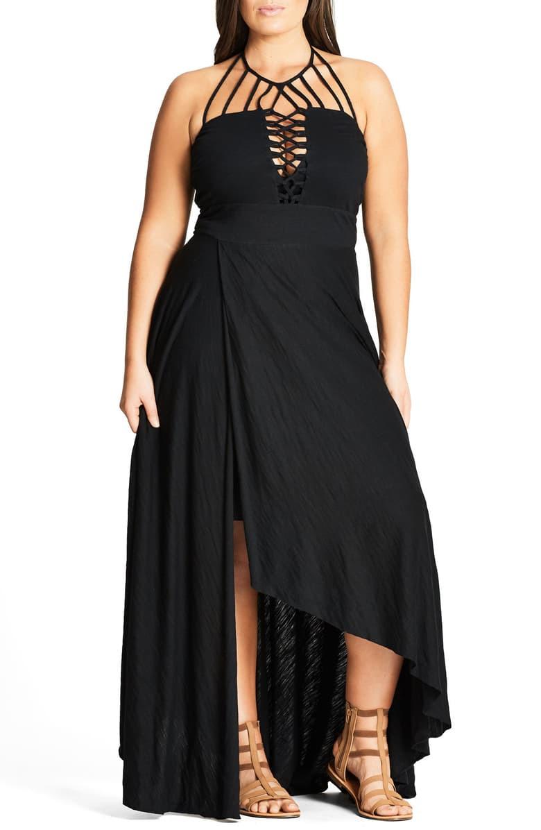 Strappy Asymmetrical Faux Wrap Halter Maxi Plus Dress