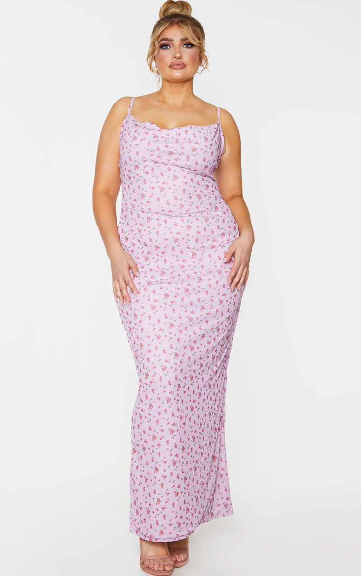 PLUS LILAC FLORAL PRINT MESH COWL MAXI DRESS