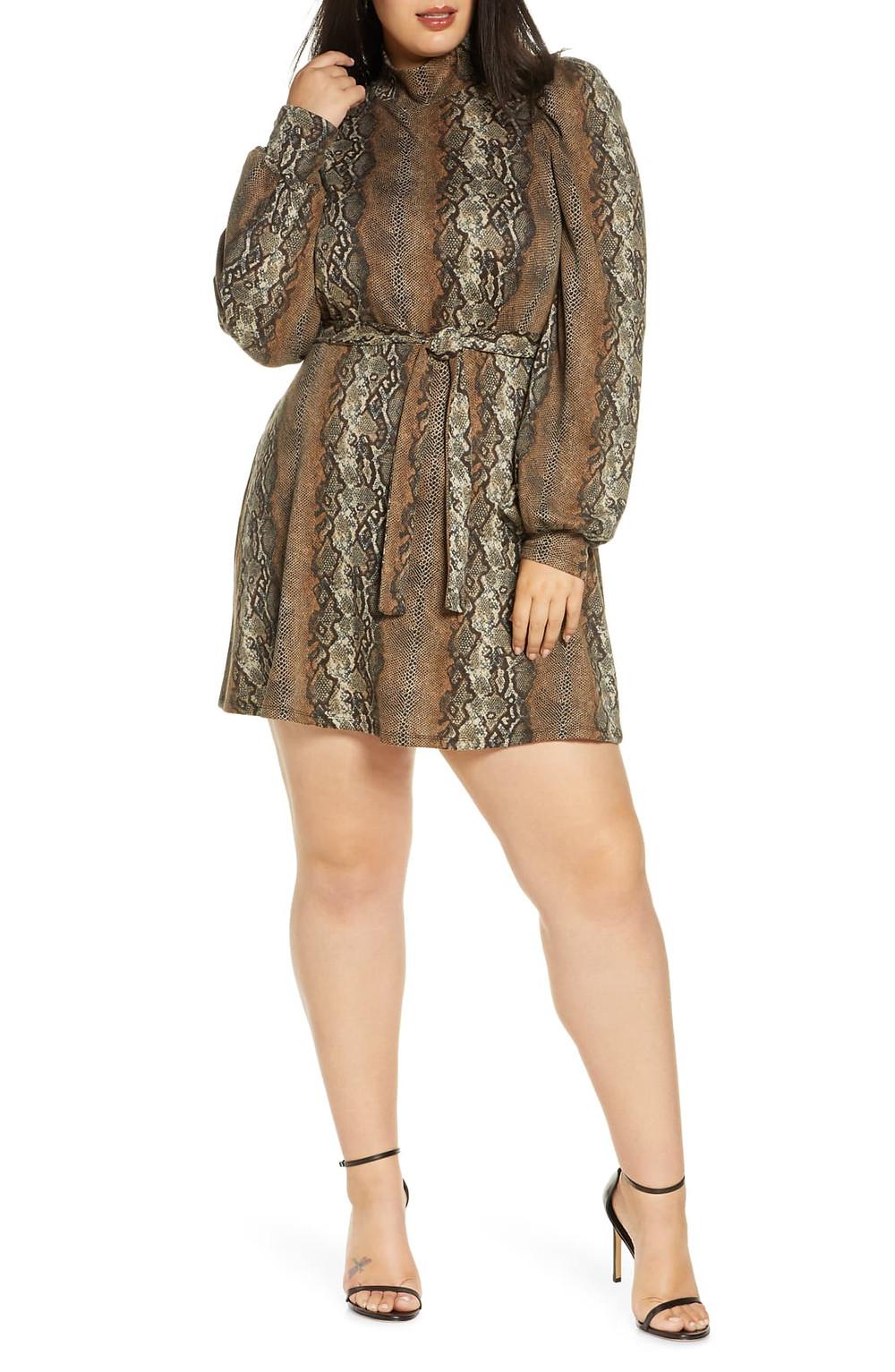Plus Size Women's Leith Mock Neck Long Sleeve Minidress