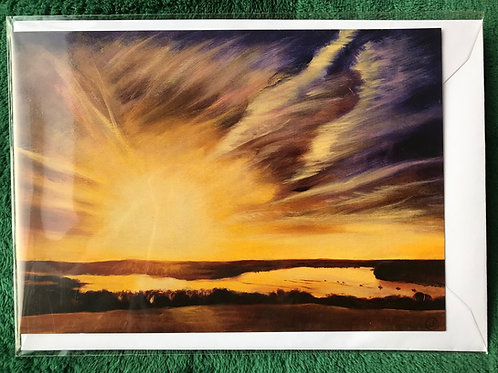 Lawrenny Sunrise #5 2017 Greetings Card