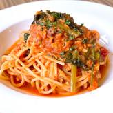 鮮魚と小松菜のトマトスパゲッティ