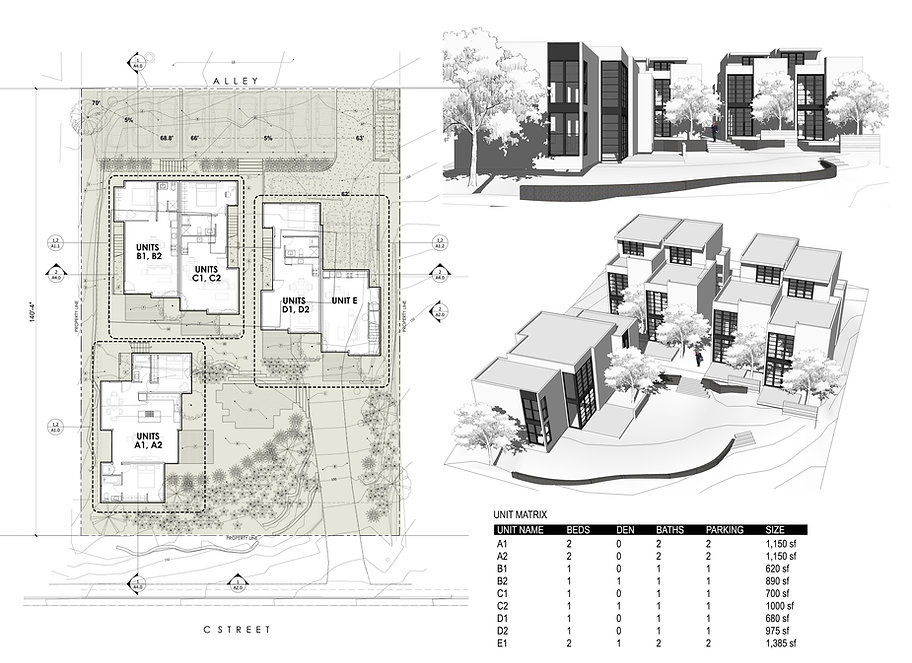 Project 03 site plan with perspective renderings