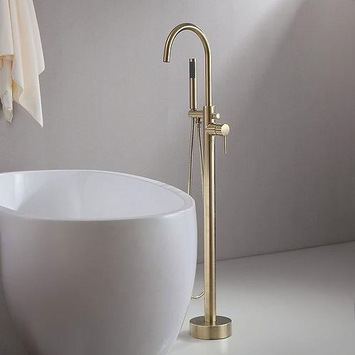 Derwent Brush Brass Floor Mounted Bath Tap with Shower Head