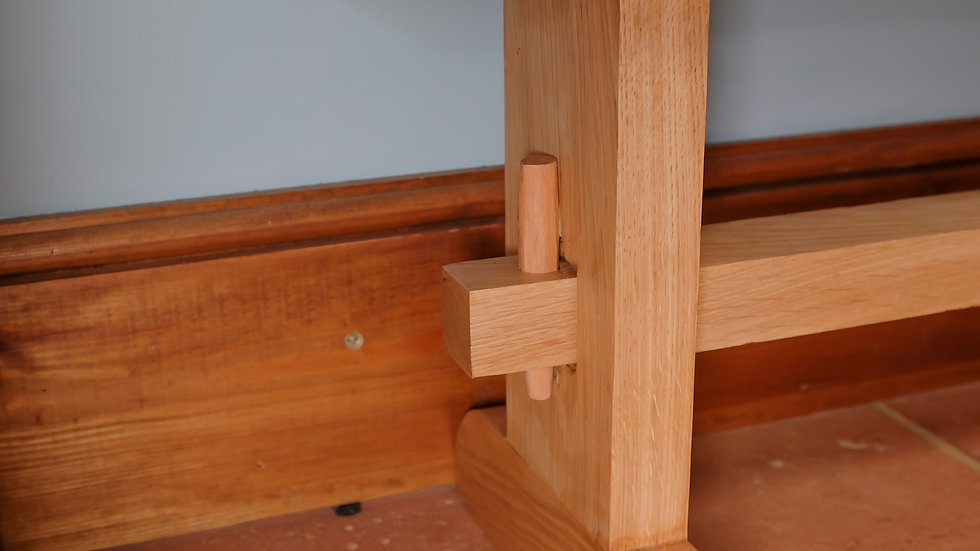 Oak bench with hand-finished joints