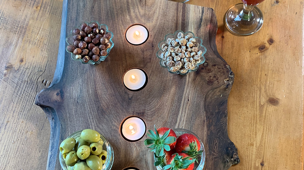 Charcuterie board elm natural edge with tealight holders