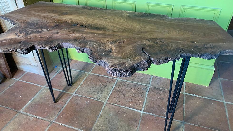 Natural edge desk in burr elm