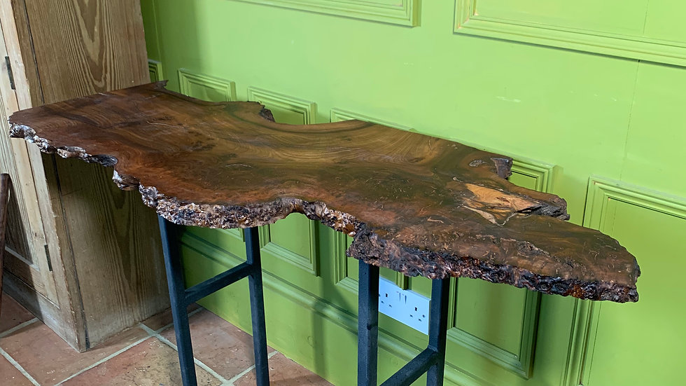Natural edge console table in burr elm