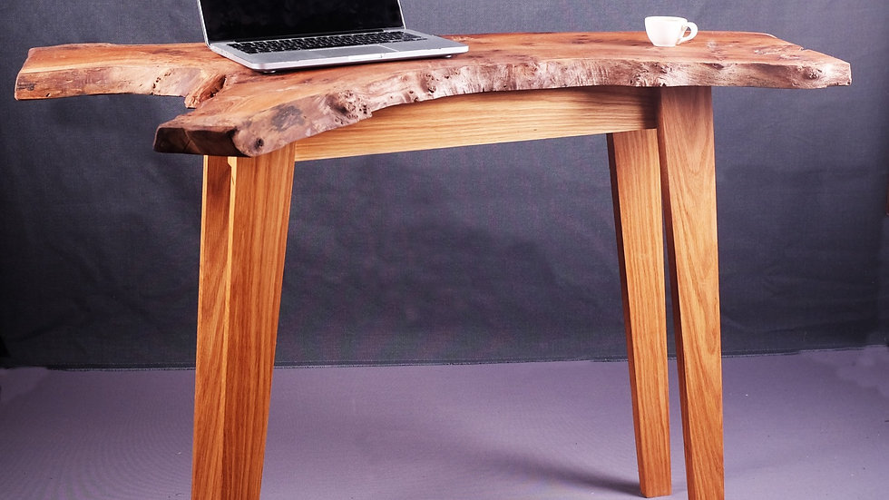 Elm desk with natural edge and ash legs