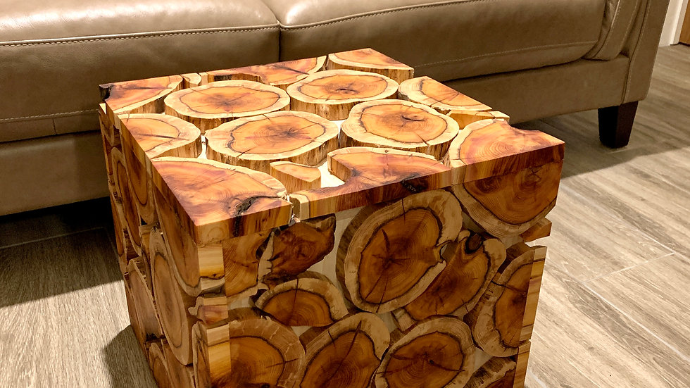 Log slice coffee table ash with yew slices