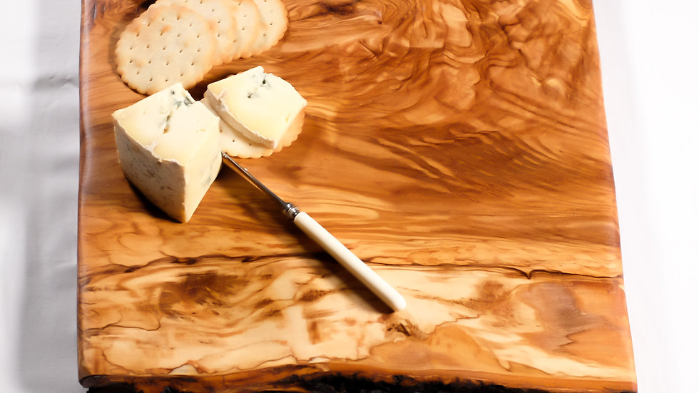 Italian olive live edge charcuterie board, serving platter and cheese bo