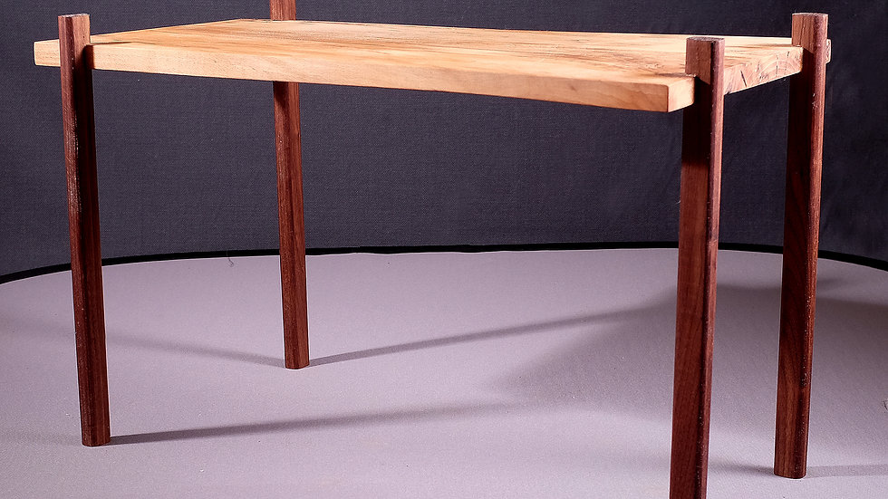 Spalted beech coffee table with walnut legs
