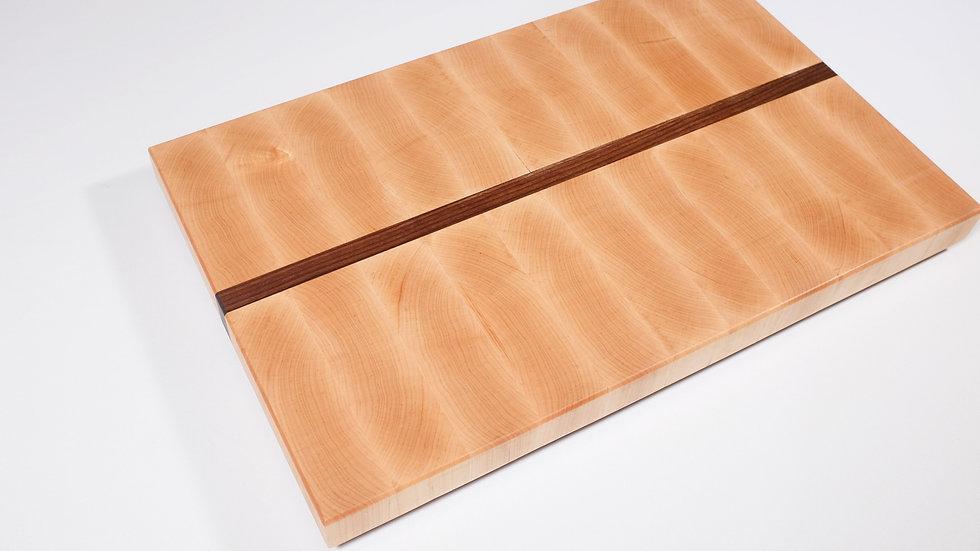 End grain butchers block cutting board maple with walnut