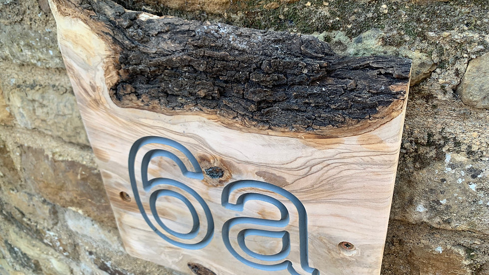 Natural edge sign / bespoke house number / address plate / house name plaque