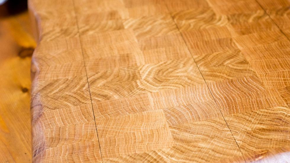 Natural edge oak end grain butchers block
