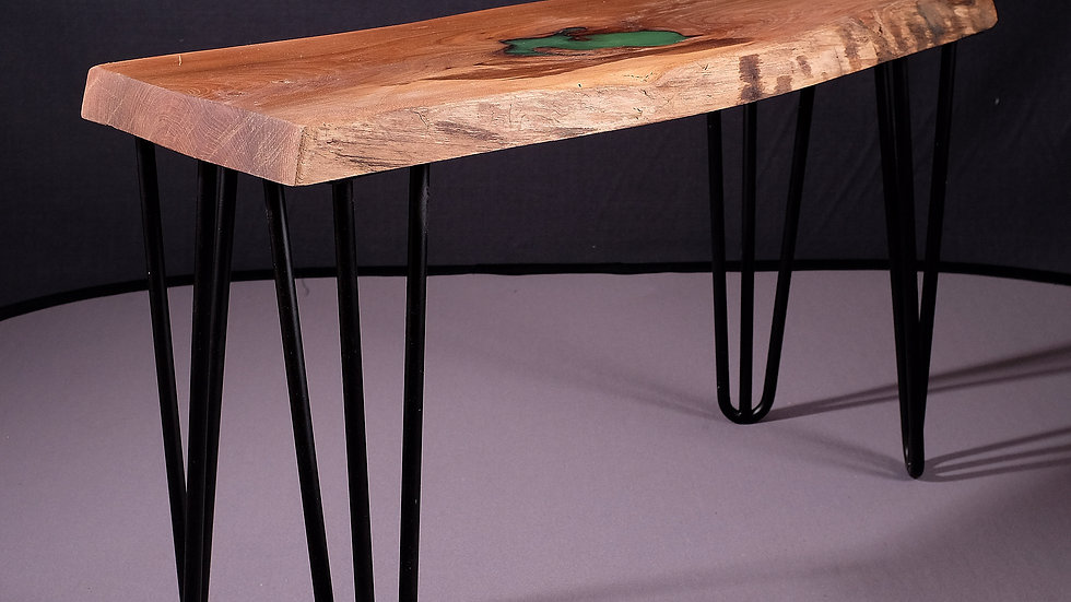 Elm natural edge coffee table with epoxy resin fill and hairpin legs