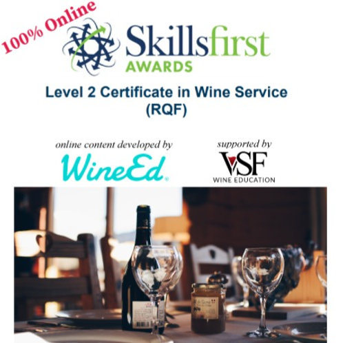 SkillsFirst Level 2 Certificate in Wine Service (RQF) (3 Online Courses + Exams)