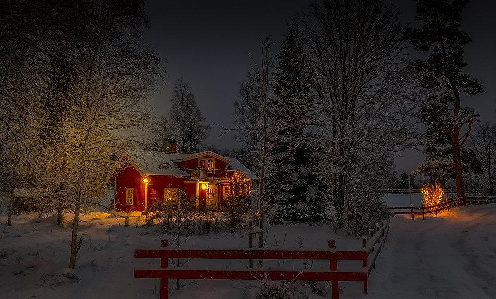 An evening winter scene in Flängan, Sweden